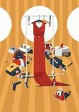 De vector verticale illustratie van de kleurenmanier met lange rode kleding op binnen getrokken hangers, knoeit van toebehoren, z Stock Foto