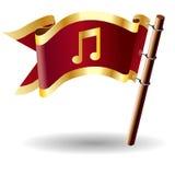 De vector vlagknoop met muziek neemt nota van pictogram Stock Fotografie
