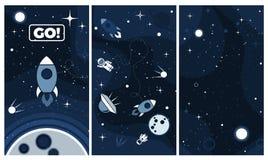 De vector vlakke achtergrond van het kosmosontwerp voor mobiele app royalty-vrije illustratie