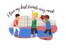 De vector Vlakke Banner houdt zeer van Mijn Beste Vrienden vector illustratie