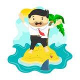 De vector vlakke die illustratie van zakenman liep in een eiland vast door haai, gevaar, bedrijfsrisico wordt omringd Stock Afbeeldingen