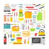 De vector vlakke die pictogrammen van keukenschotels op witte achtergrond worden geïsoleerd Stock Afbeelding