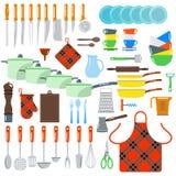 De vector vlakke die pictogrammen van keukenschotels op witte achtergrond worden geïsoleerd Stock Afbeeldingen