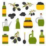De vector vlakke fles van de beeldverhaalolie en olijven Royalty-vrije Stock Foto