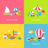 De Vector Vlakke Geplaatste Concepten van de de zomerreis Stock Afbeeldingen