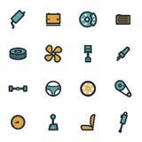De vector vlakke geplaatste pictogrammen van autodelen Royalty-vrije Stock Foto's