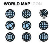 De vector vlakke geplaatste pictogrammen van de wereldkaart Royalty-vrije Stock Afbeelding