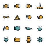 De vector vlakke geplaatste pictogrammen van het autodashboard Stock Afbeeldingen