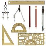 De vector vlakke geplaatste pictogrammen van het tekeningsinstrument vector illustratie