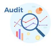 De vector vlakke illustratie van de controleanalyse Concept boekhouding, analyse, controle, financieel verslag Het proces van de  royalty-vrije illustratie