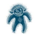 De vector vlakke illustratie van het karaktermonster, blauwe mutant, duivel stock illustratie