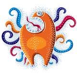 De vector vlakke illustratie van het karaktermonster, buitenissige oranje mutant royalty-vrije illustratie