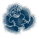 De vector vlakke illustratie van het karaktermonster, leuke blauwe mutant Dr. royalty-vrije illustratie