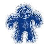 De vector vlakke illustratie van het karaktermonster, leuke blauwe mutant Dr. vector illustratie