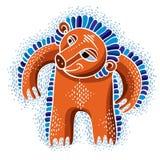 De vector vlakke illustratie van het karaktermonster, leuke oranje mutant vector illustratie