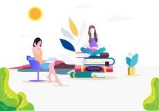 De vector vlakke illustratie van het lezingsboek royalty-vrije illustratie