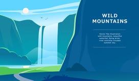 De vector vlakke illustratie van het de zomerlandschap met waterval, rivier, bergen, zon, bos op blauwe betrokken hemel Royalty-vrije Stock Afbeeldingen