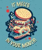 De vector vlakke illustratieos wijnoogst kleurde smakelijke banner met sandwich Stock Afbeeldingen