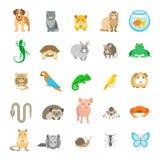 De vector vlakke kleurrijke die pictogrammen van dierenhuisdieren op wit worden geplaatst Royalty-vrije Stock Afbeelding
