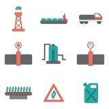 De vector vlakke pictogrammen van de gaslevering Stock Fotografie