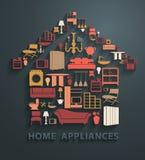 De vector vlakke pictogrammen van het huistoestellen van ontwerpconcepten Stock Foto's