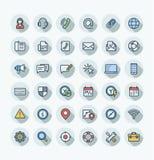 De vector vlakke pictogrammen van de kleuren dunne die lijn met contact worden geplaatst ons, het overzichtssymbolen van de techn royalty-vrije illustratie