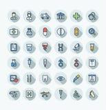 De vector vlakke pictogrammen van de kleuren dunne die lijn met medische, geneeskunde en van het gezondheidszorgoverzicht symbole Stock Foto