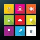 De vector vlakke reeks van het restaurantpictogram vector illustratie