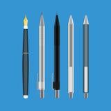 De vector vlakke stijl van het penpictogram Stock Foto