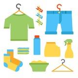 De vector vlakke voorwerpen van de wasserijruimte Stock Foto's