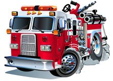 De vector Vrachtwagen van de Brand van het Beeldverhaal Royalty-vrije Stock Afbeeldingen