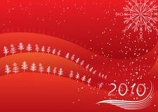 De vector winter met Kerstbomen. Rode prentbriefkaar Stock Illustratie