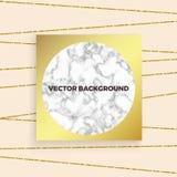 De vector witte marmeren textuur als achtergrond met goud schittert lijnen en gouden vierkante kaart Malplaatje voor vakantieontw vector illustratie