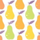 De vector yummy achtergrond van het peren naadloze patroon Stock Fotografie