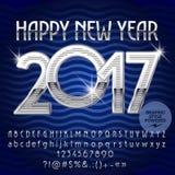De vector zilveren Gelukkige kaart van de Nieuwjaar 2017 groet Royalty-vrije Stock Fotografie