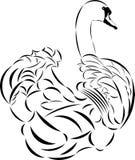De vector zwaan van de tatoegeringsstijl. Stock Fotografie