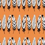 De vector zwart-witte naadloze veerstreep herhaalt patroonachtergrond stock illustratie
