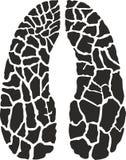 De vector zwart-witte voetafdruk van de illustratiegiraf royalty-vrije stock foto