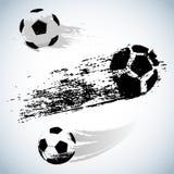 De vector zwarte bal van het grungevoetbal op wit vector illustratie