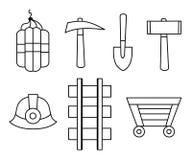 De vector zwarte die pictogrammen van de lijnmijnbouw op witte achtergrond worden geplaatst Stock Afbeeldingen