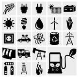 De vector zwarte geplaatste pictogrammen van de ecoenergie Stock Afbeelding