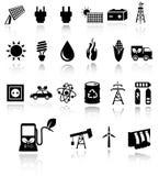 De vector zwarte geplaatste pictogrammen van de ecoenergie Royalty-vrije Stock Afbeelding