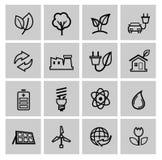 De vector zwarte geplaatste pictogrammen van de ecoenergie Royalty-vrije Stock Foto