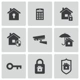De vector zwarte geplaatste pictogrammen van de huisveiligheid Stock Afbeeldingen