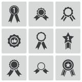 De vector zwarte geplaatste pictogrammen van de toekenningsmedaille stock illustratie