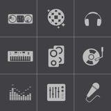 De vector zwarte geplaatste pictogrammen van DJ Royalty-vrije Stock Afbeeldingen