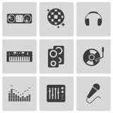 De vector zwarte geplaatste pictogrammen van DJ Stock Foto