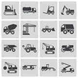De vector zwarte geplaatste pictogrammen van het bouwvervoer Stock Afbeelding