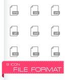 De vector zwarte geplaatste pictogrammen van het dossierformaat Stock Foto