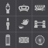 De vector zwarte geplaatste pictogrammen van Londen Stock Afbeeldingen